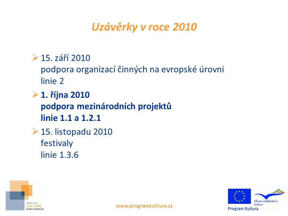 www.programculture.cz Uzávěrky v roce 2010  15. září 2010 podpora organizací činných na evropské úrovni linie 2  1. října 2010 podpora mezinárodních