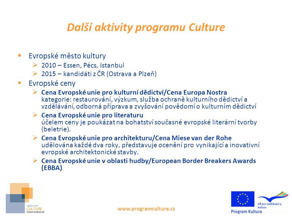 www.programculture.cz Další aktivity programu Culture  Evropské město kultury  2010 – Essen, Pécs, Istanbul  2015 – kandidáti z ČR (Ostrava a Plzeň
