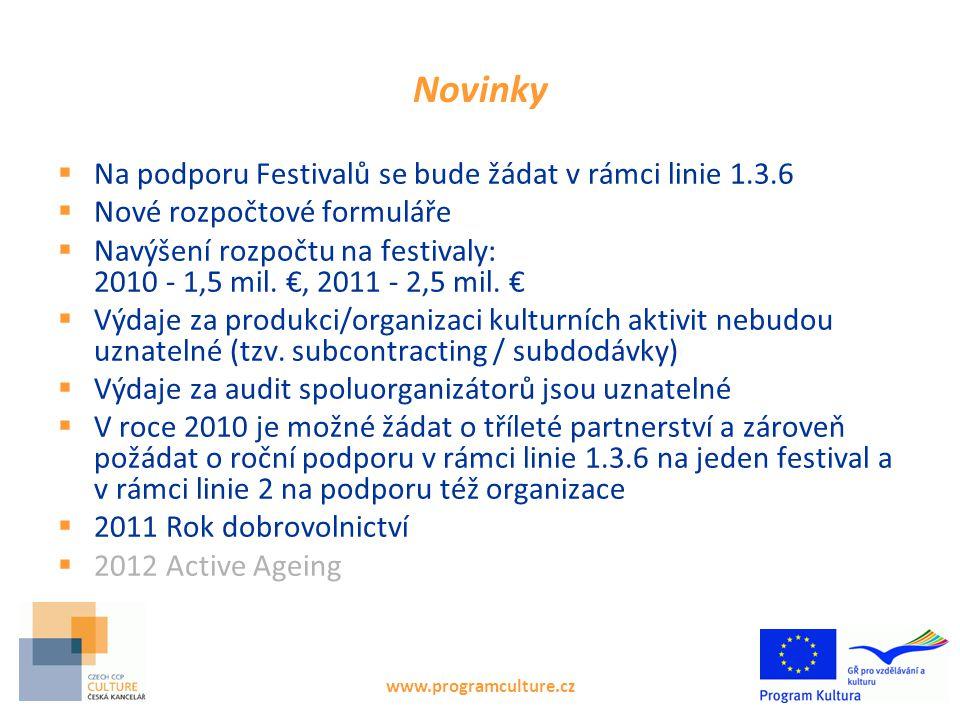 www.programculture.cz Novinky  Na podporu Festivalů se bude žádat v rámci linie 1.3.6  Nové rozpočtové formuláře  Navýšení rozpočtu na festivaly: 2010 - 1,5 mil.