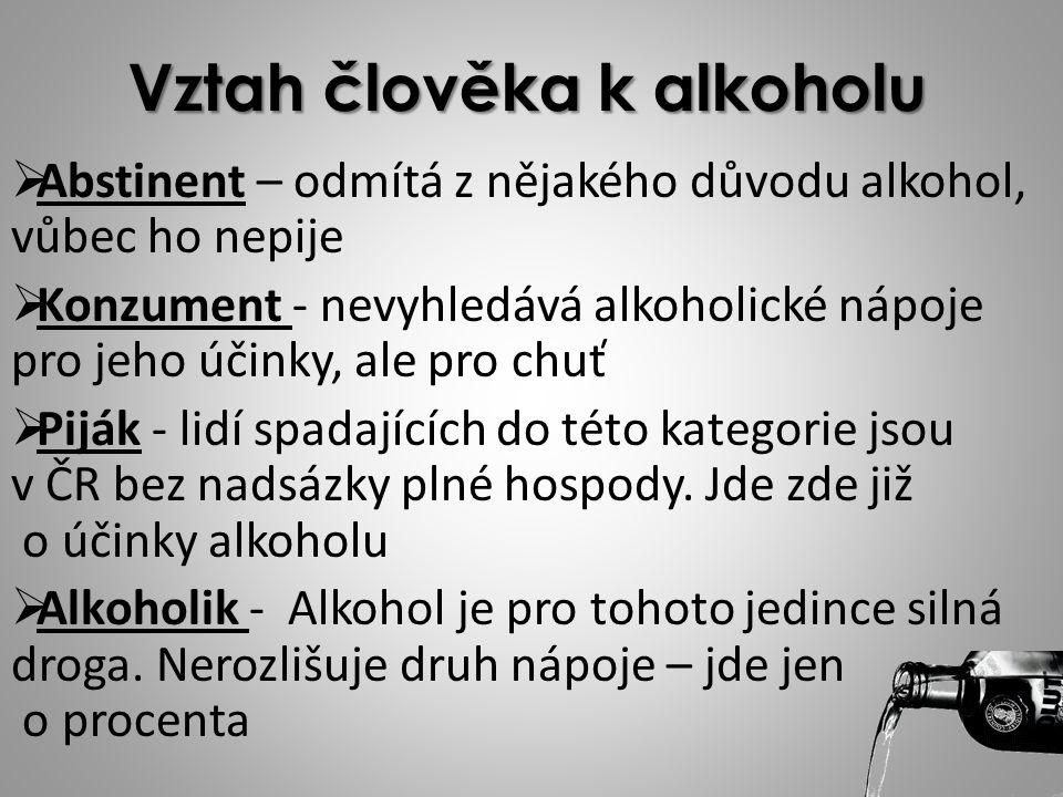 Vztah člověka k alkoholu AAbstinent – odmítá z nějakého důvodu alkohol, vůbec ho nepije KKonzument - nevyhledává alkoholické nápoje pro jeho účink