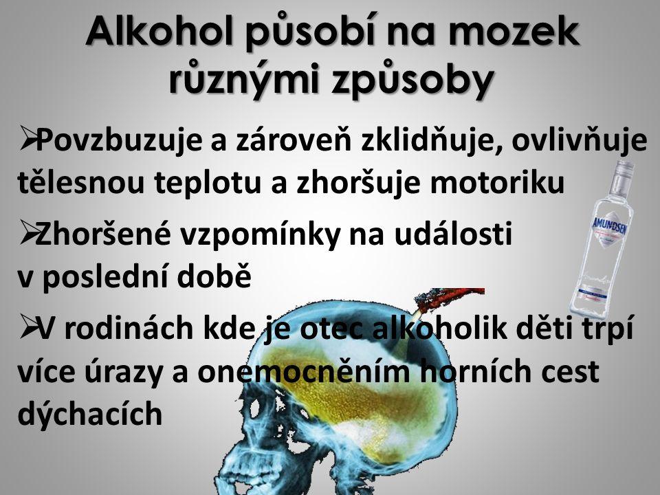 Alkohol působí na mozek různými způsoby PPovzbuzuje a zároveň zklidňuje, ovlivňuje tělesnou teplotu a zhoršuje motoriku ZZhoršené vzpomínky na události v poslední době VV rodinách kde je otec alkoholik děti trpí více úrazy a onemocněním horních cest dýchacích