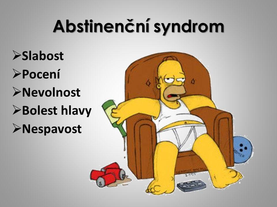 Abstinenční syndrom SSlabost PPocení NNevolnost BBolest hlavy NNespavost