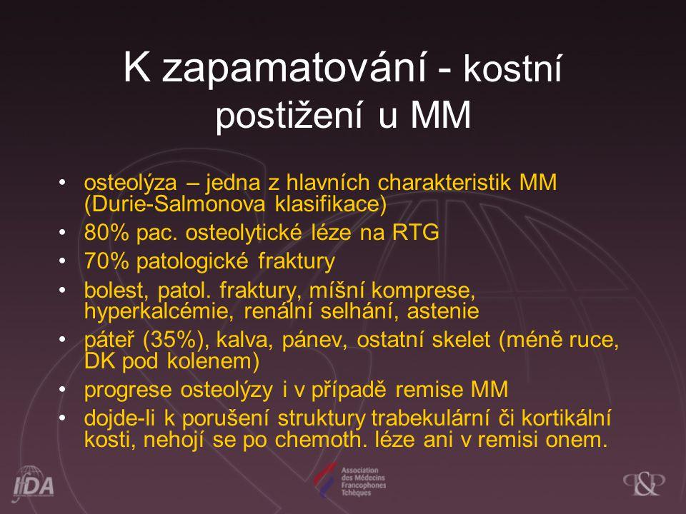 K zapamatování - kostní postižení u MM osteolýza – jedna z hlavních charakteristik MM (Durie-Salmonova klasifikace) 80% pac.
