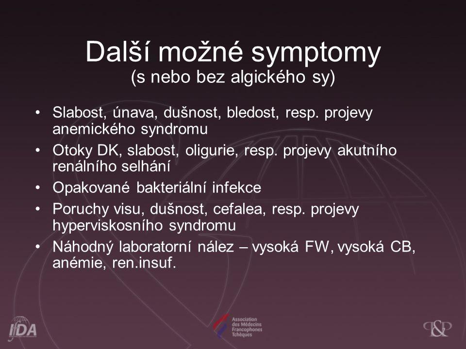 Další možné symptomy (s nebo bez algického sy) Slabost, únava, dušnost, bledost, resp.