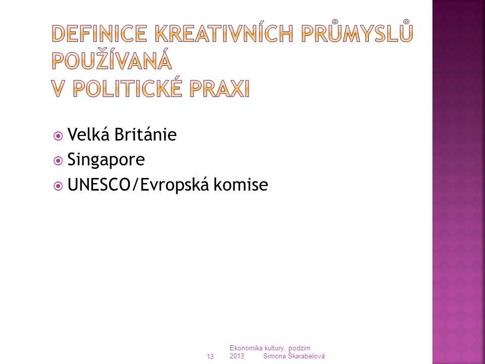  Velká Británie  Singapore  UNESCO/Evropská komise Ekonomika kultury, podzim 2013 Simona Škarabelová 13