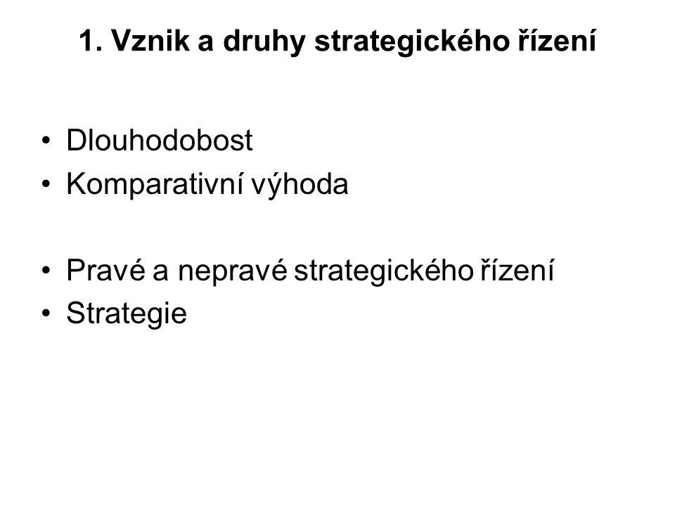 1. Vznik a druhy strategického řízení Dlouhodobost Komparativní výhoda Pravé a nepravé strategického řízení Strategie