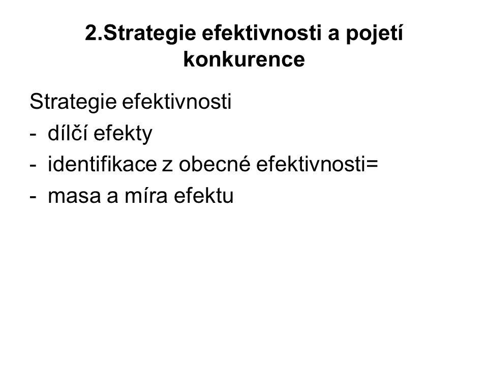 2.Strategie efektivnosti a pojetí konkurence Strategie efektivnosti -dílčí efekty -identifikace z obecné efektivnosti= -masa a míra efektu