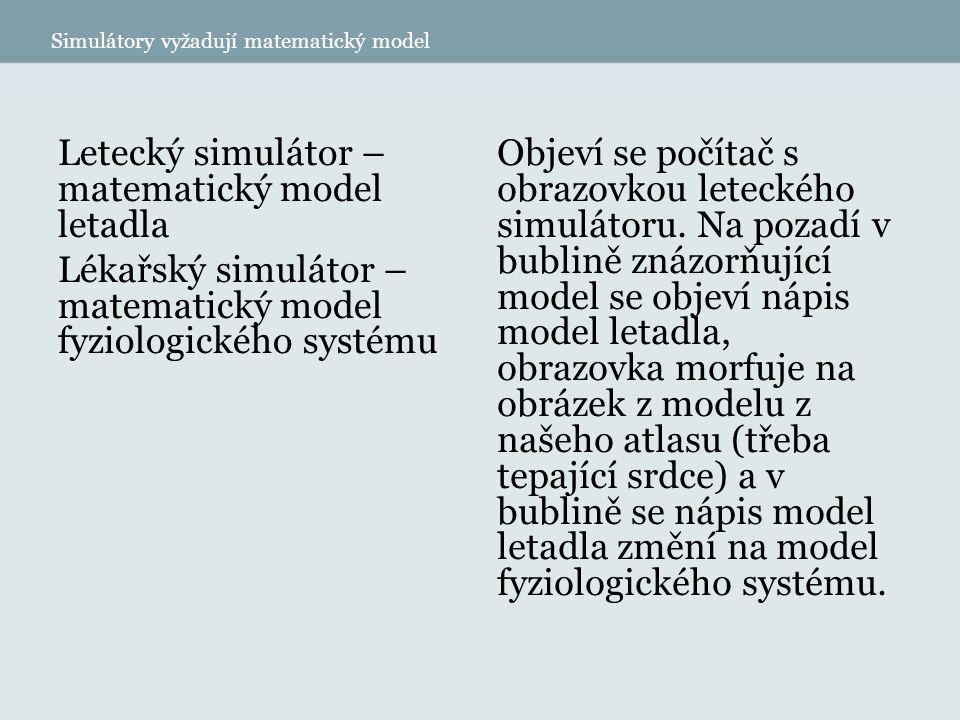 Simulátory vyžadují matematický model Letecký simulátor – matematický model letadla Lékařský simulátor – matematický model fyziologického systému Objeví se počítač s obrazovkou leteckého simulátoru.
