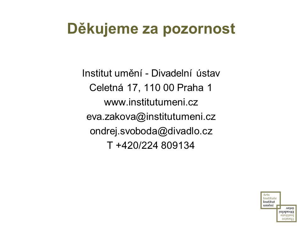 Děkujeme za pozornost Institut umění - Divadelní ústav Celetná 17, 110 00 Praha 1 www.institutumeni.cz eva.zakova@institutumeni.cz ondrej.svoboda@diva