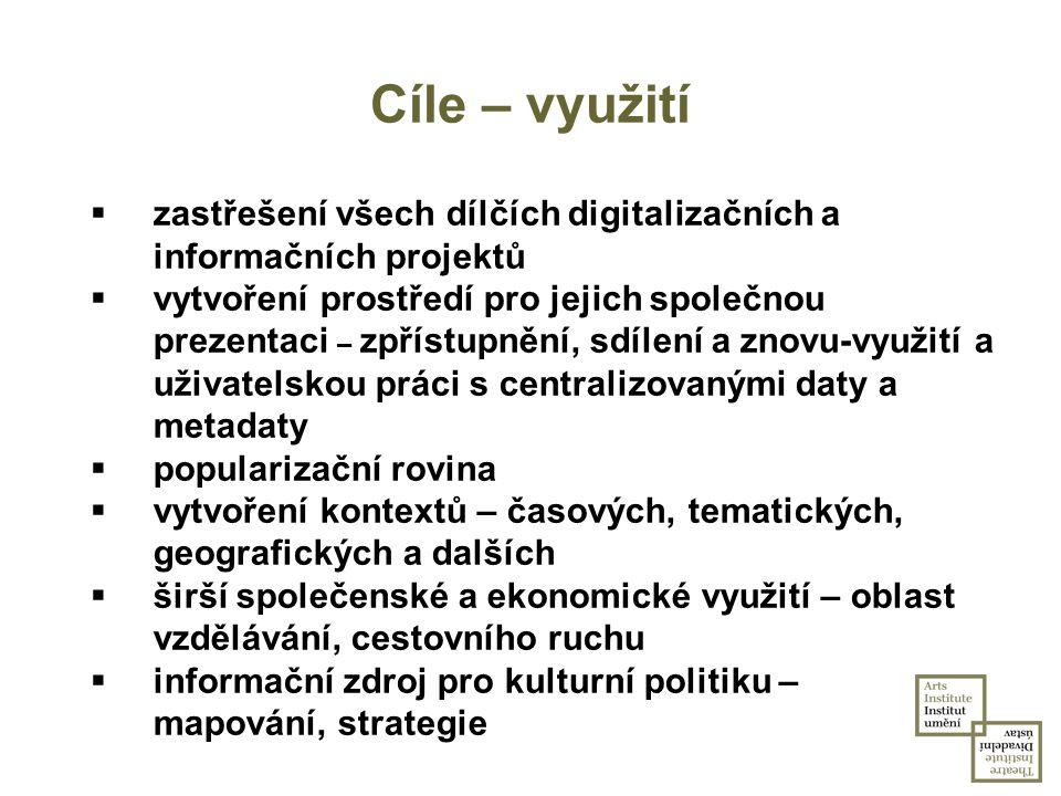 Cíle – využití  zastřešení všech dílčích digitalizačních a informačních projektů  vytvoření prostředí pro jejich společnou prezentaci – zpřístupnění