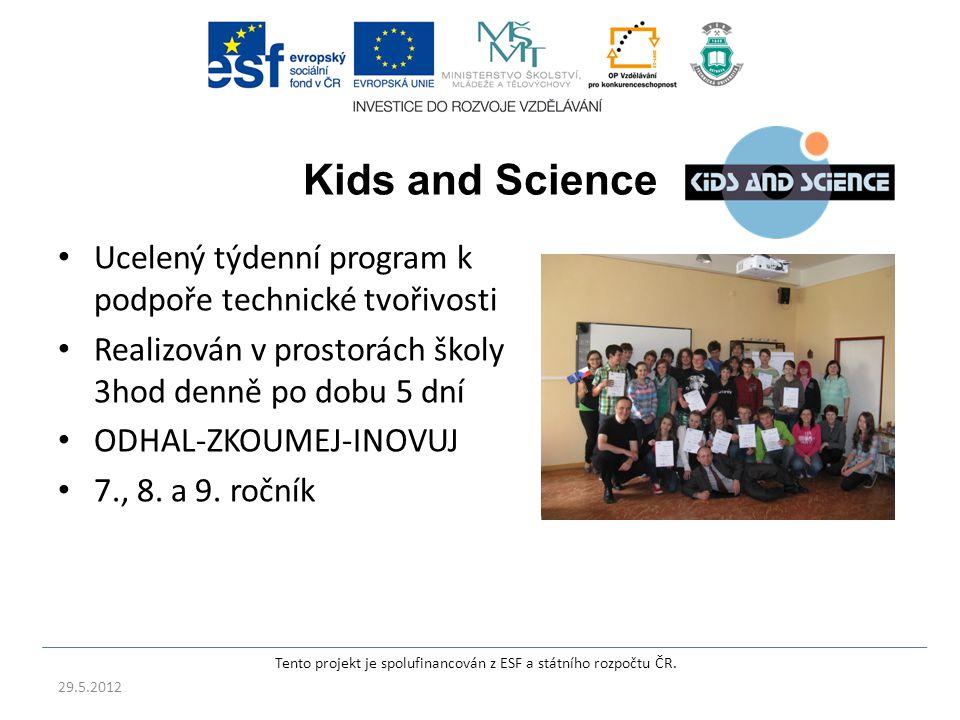 Kids and Science Ucelený týdenní program k podpoře technické tvořivosti Realizován v prostorách školy 3hod denně po dobu 5 dní ODHAL-ZKOUMEJ-INOVUJ 7., 8.