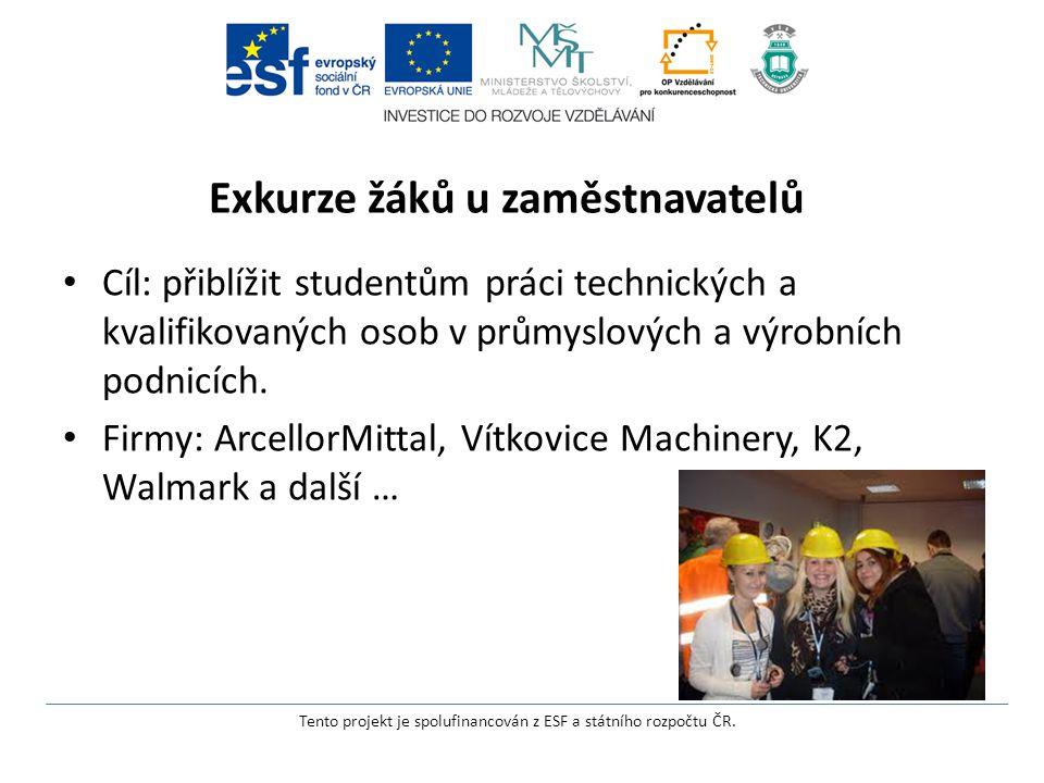 Exkurze žáků u zaměstnavatelů Cíl: přiblížit studentům práci technických a kvalifikovaných osob v průmyslových a výrobních podnicích.
