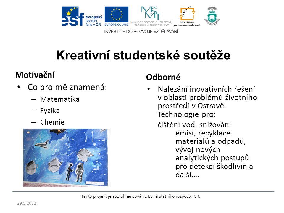 Kreativní studentské soutěže Motivační Co pro mě znamená: – Matematika – Fyzika – Chemie Odborné Nalézání inovativních řešení v oblasti problémů životního prostředí v Ostravě.