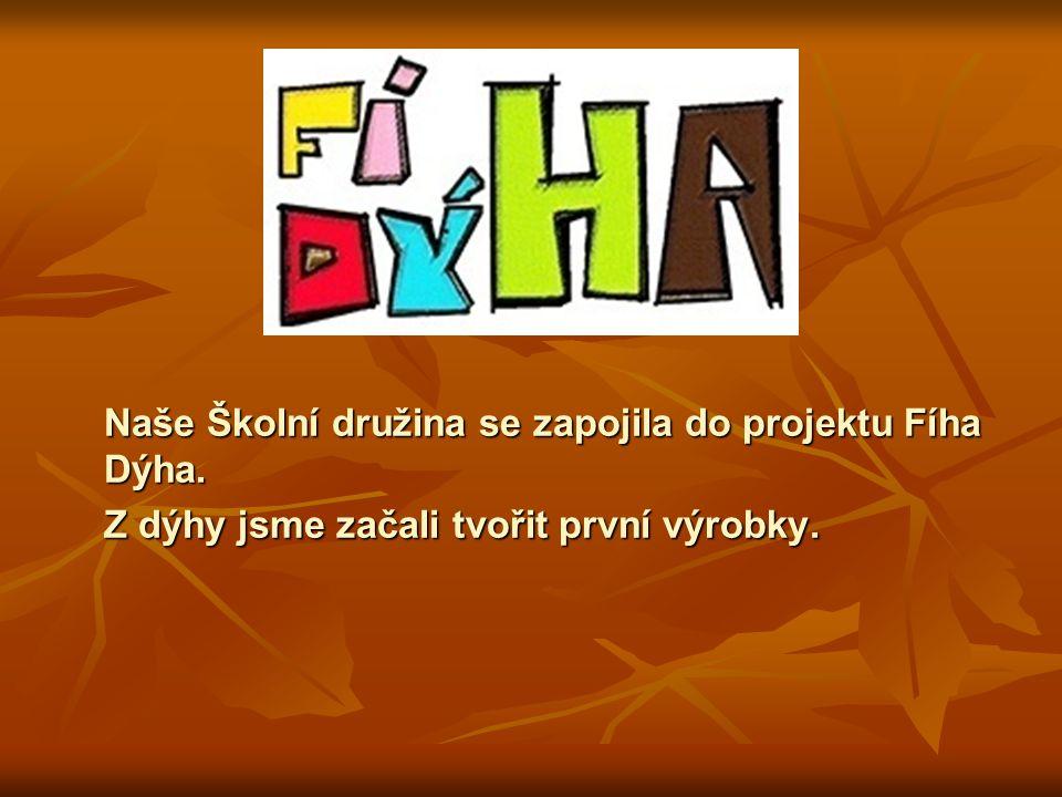 Naše Školní družina se zapojila do projektu Fíha Dýha. Z dýhy jsme začali tvořit první výrobky.