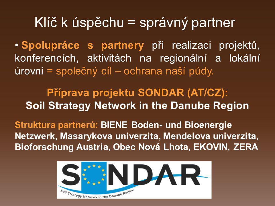 Klíč k úspěchu = správný partner Spolupráce s partnery při realizaci projektů, konferencích, aktivitách na regionální a lokální úrovni = společný cíl – ochrana naší půdy.