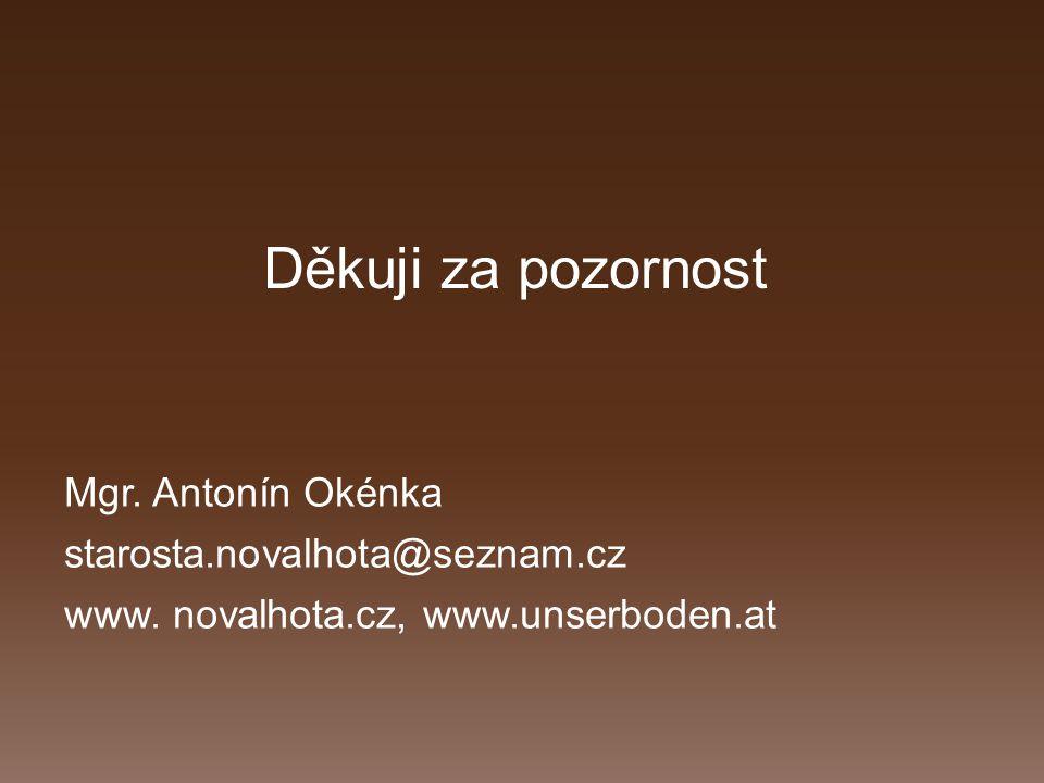 Děkuji za pozornost Mgr. Antonín Okénka starosta.novalhota@seznam.cz www.