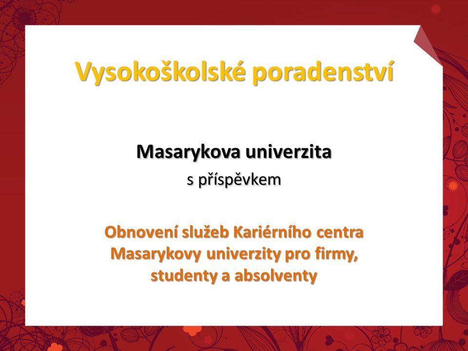 Vysokoškolské poradenství Masarykova univerzita s příspěvkem Obnovení služeb Kariérního centra Masarykovy univerzity pro firmy, studenty a absolventy