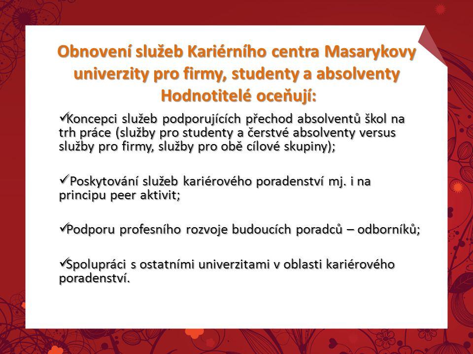 Obnovení služeb Kariérního centra Masarykovy univerzity pro firmy, studenty a absolventy Hodnotitelé oceňují: Koncepci služeb podporujících přechod ab