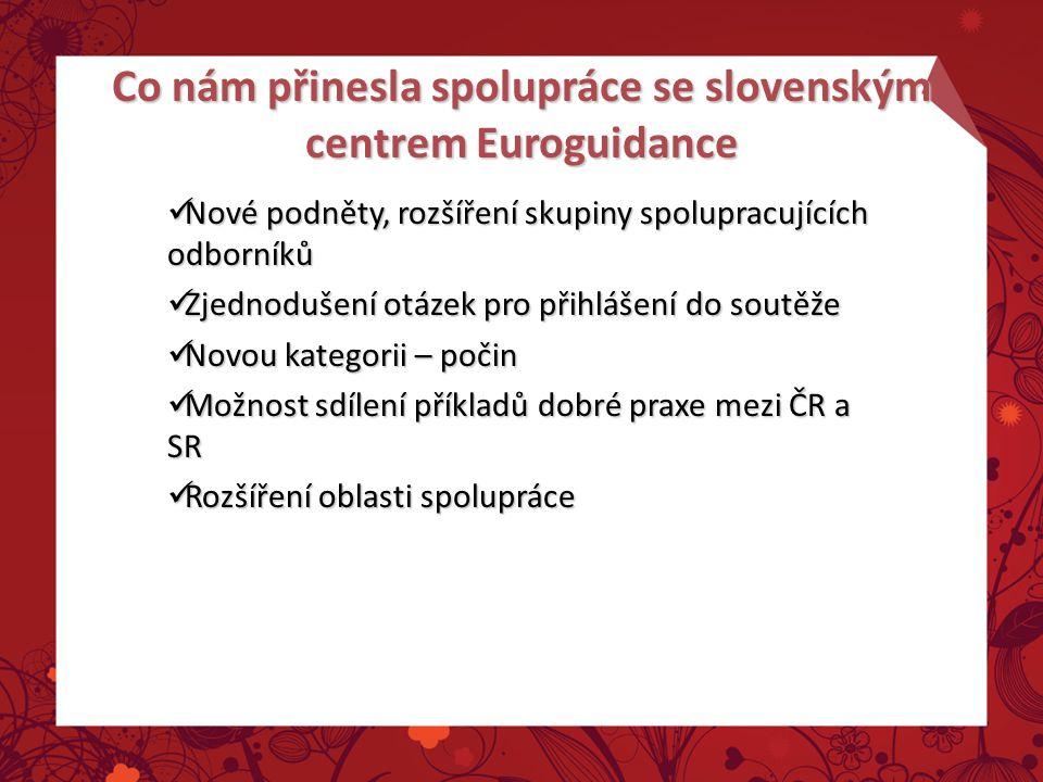 Co nám přinesla spolupráce se slovenským centrem Euroguidance Nové podněty, rozšíření skupiny spolupracujících odborníků Nové podněty, rozšíření skupi