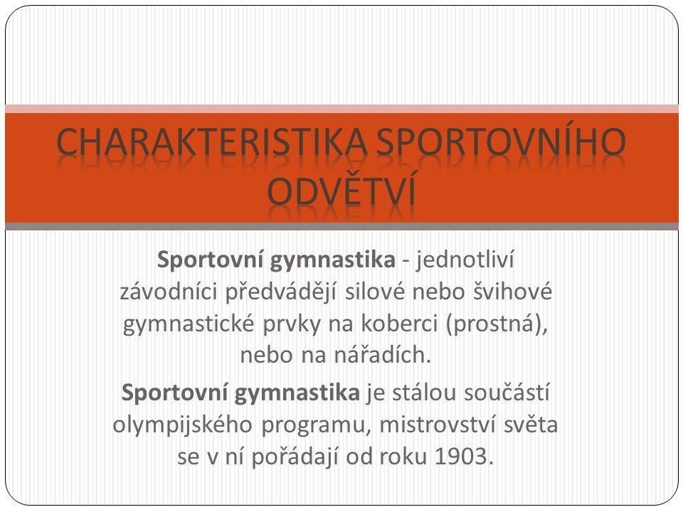 Sportovní gymnastika - jednotliví závodníci předvádějí silové nebo švihové gymnastické prvky na koberci (prostná), nebo na nářadích. Sportovní gymnast