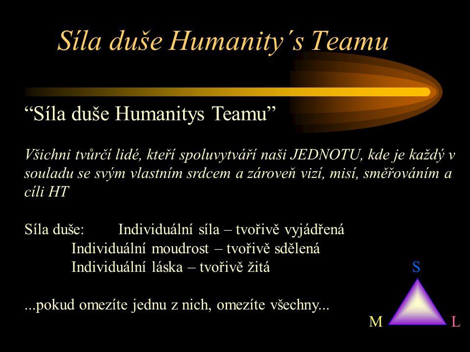 Síla duše Humanity´s Teamu Síla duše Humanitys Teamu Všichni tvůrčí lidé, kteří spoluvytváří naši JEDNOTU, kde je každý v souladu se svým vlastním srdcem a zároveň vizí, misí, směřováním a cíli HT Síla duše: Individuální síla – tvořivě vyjádřená Individuální moudrost – tvořivě sdělená Individuální láska – tvořivě žitá...pokud omezíte jednu z nich, omezíte všechny...