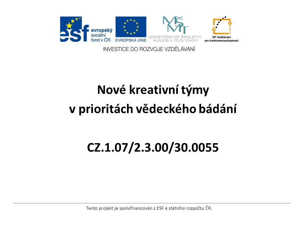 Nové kreativní týmy v prioritách vědeckého bádání CZ.1.07/2.3.00/30.0055 Tento projekt je spolufinancován z ESF a státního rozpočtu ČR.