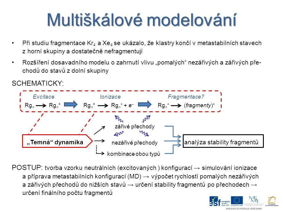 """Multiškálové modelování Při studiu fragmentace Kr 4 a Xe 4 se ukázalo, že klastry končí v metastabilních stavech z horní skupiny a dostatečně nefragmentují Rozšíření dosavadního modelu o zahrnutí vlivu """"pomalých nezářivých a zářivých pře- chodů do stavů z dolní skupiny SCHEMATICKY: POSTUP: tvorba vzorku neutrálních (excitovaných ) konfigurací → simulování ionizace a příprava metastabilních konfigurací (MD) → výpočet rychlostí pomalých nezářivých a zářivých přechodů do nižších stavů → určení stability fragmentů po přechodech → určení finálního počtu fragmentů Excitace Ionizace Fragmentace."""