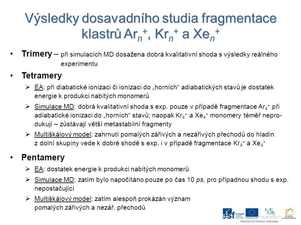 Odhady luminiscenčních spekter při zářivých rozpadech Kr 4 + a Xe 4 + Určovány pouze ze zářivých přechodů (dochází k emisi fotonů) Výchozí stav  Kr 4 : 600 ps temné MD  Xe 4 : 3 ns temné MD Určováno z vývoje systému po adiabatická ionizaci Odhad spekter pouze přibližný – jen 500 trajektorií, některé přechody nejsou započteny