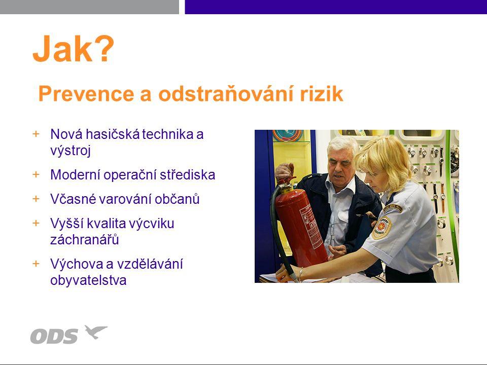 Prevence a odstraňování rizik +Nová hasičská technika a výstroj +Moderní operační střediska +Včasné varování občanů +Vyšší kvalita výcviku záchranářů +Výchova a vzdělávání obyvatelstva Jak?