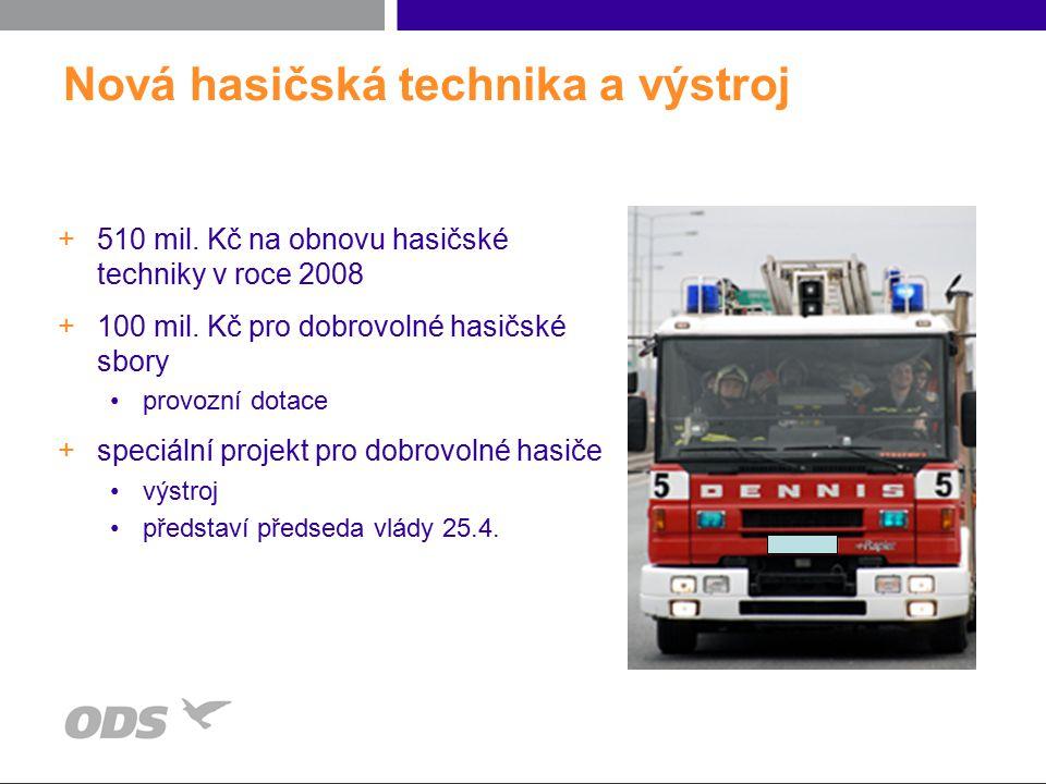 Nová hasičská technika a výstroj +510 mil. Kč na obnovu hasičské techniky v roce 2008 +100 mil. Kč pro dobrovolné hasičské sbory provozní dotace +spec