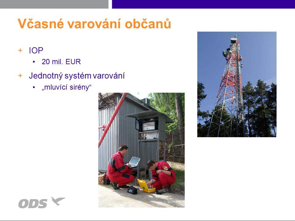 """Včasné varování občanů +IOP 20 mil. EUR +Jednotný systém varování """"mluvící sirény"""""""