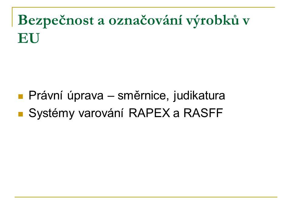 Bezpečnost a označování výrobků v EU Právní úprava – směrnice, judikatura Systémy varování RAPEX a RASFF