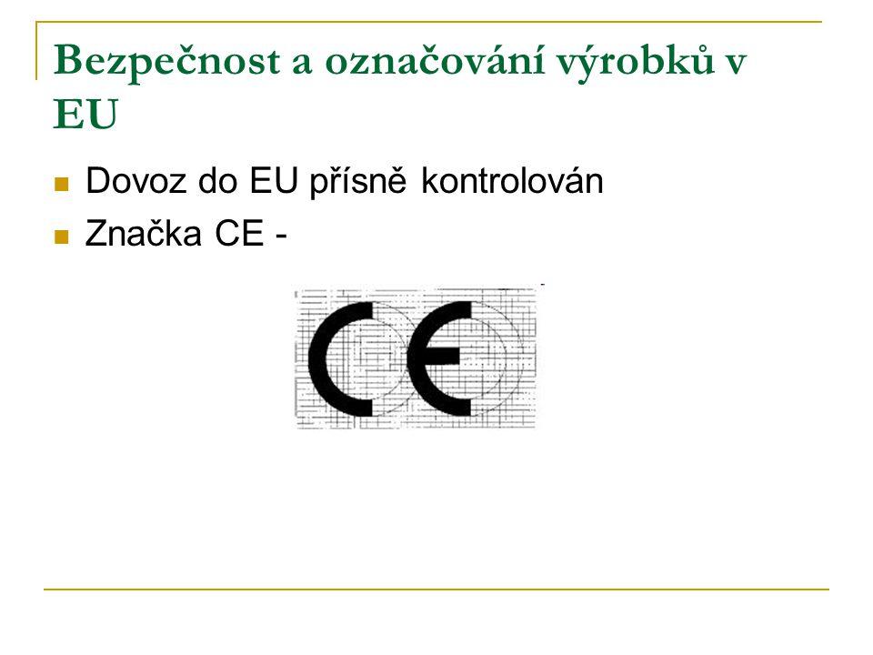 Bezpečnost a označování výrobků v EU – značky kvality Velké množství, nesystematické, malá medializace Záměny se značkami řetězců Neplní funkci