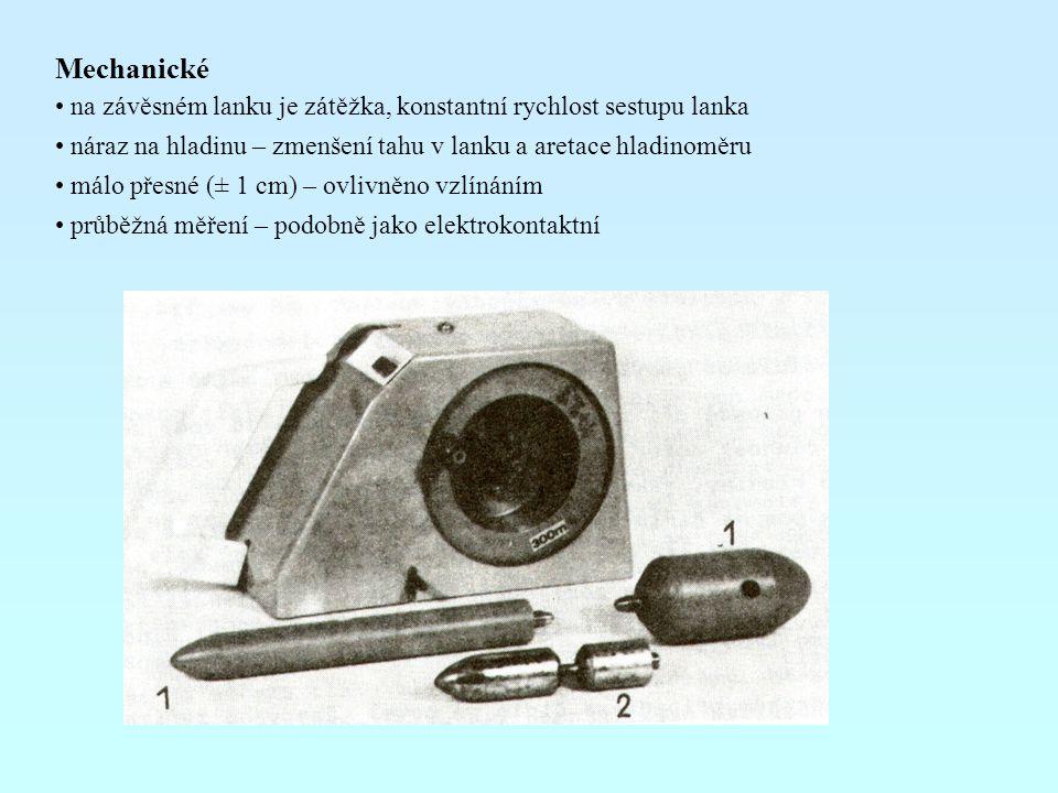 Mechanické na závěsném lanku je zátěžka, konstantní rychlost sestupu lanka náraz na hladinu – zmenšení tahu v lanku a aretace hladinoměru málo přesné