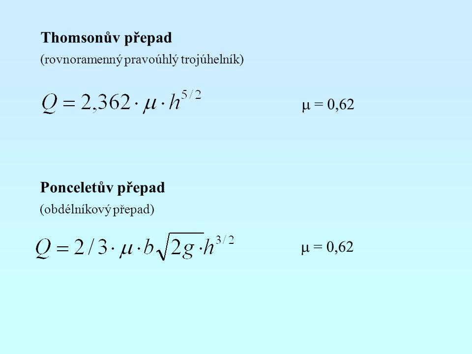 Thomsonův přepad (rovnoramenný pravoúhlý trojúhelník) Ponceletův přepad (obdélníkový přepad)  = 0,62