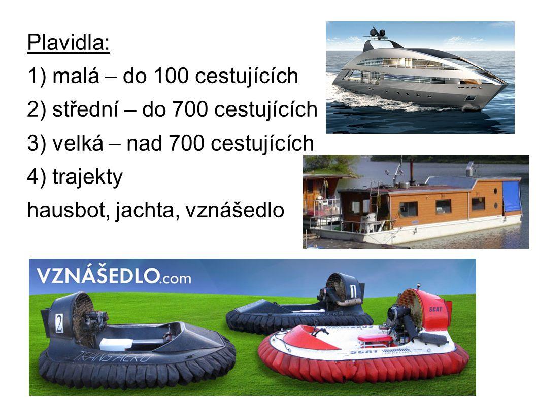 Plavidla: 1) malá – do 100 cestujících 2) střední – do 700 cestujících 3) velká – nad 700 cestujících 4) trajekty hausbot, jachta, vznášedlo