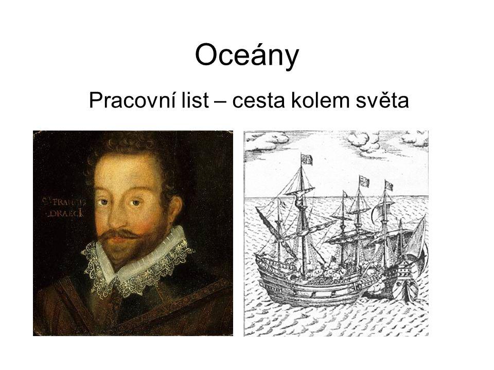 Oceány Pracovní list – cesta kolem světa
