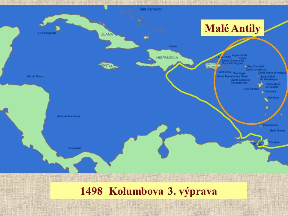 1498Kolumbova 3. výprava Malé Antily