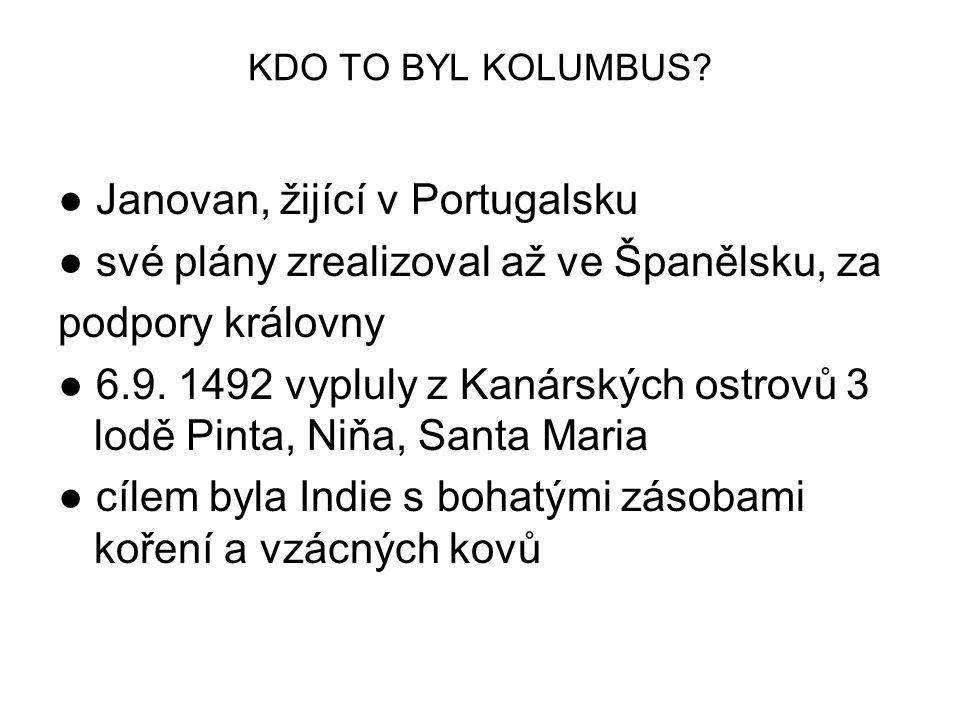 KDO TO BYL KOLUMBUS? ● Janovan, žijící v Portugalsku ● své plány zrealizoval až ve Španělsku, za podpory královny ● 6.9. 1492 vypluly z Kanárských ost
