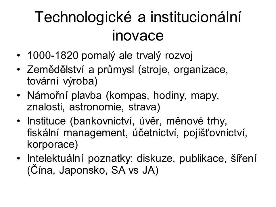 Technologické a institucionální inovace 1000-1820 pomalý ale trvalý rozvoj Zemědělství a průmysl (stroje, organizace, tovární výroba) Námořní plavba (kompas, hodiny, mapy, znalosti, astronomie, strava) Instituce (bankovnictví, úvěr, měnové trhy, fiskální management, účetnictví, pojišťovnictví, korporace) Intelektuální poznatky: diskuze, publikace, šíření (Čína, Japonsko, SA vs JA)