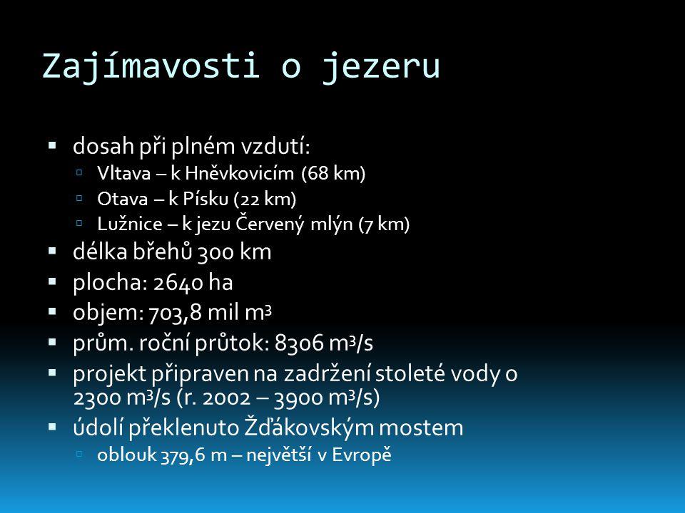 Zajímavosti o jezeru  dosah při plném vzdutí:  Vltava – k Hněvkovicím (68 km)  Otava – k Písku (22 km)  Lužnice – k jezu Červený mlýn (7 km)  dél