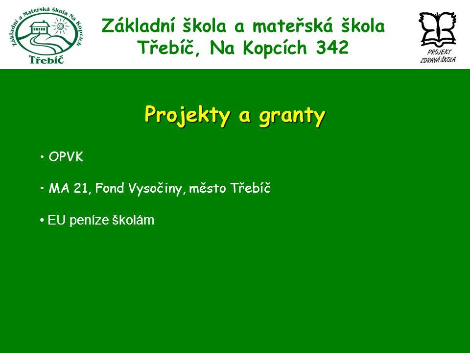 Základní škola a mateřská škola Třebíč, Na Kopcích 342 Projekty a granty OPVK MA 21, Fond Vysočiny, město Třebíč EU peníze školám