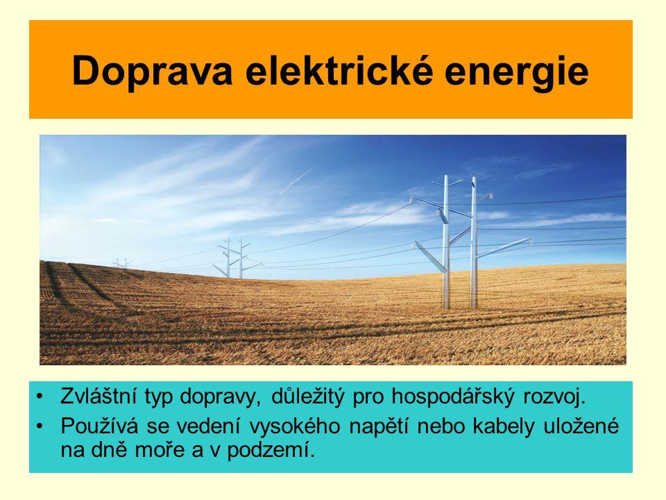 Doprava elektrické energie Zvláštní typ dopravy, důležitý pro hospodářský rozvoj. Používá se vedení vysokého napětí nebo kabely uložené na dně moře a