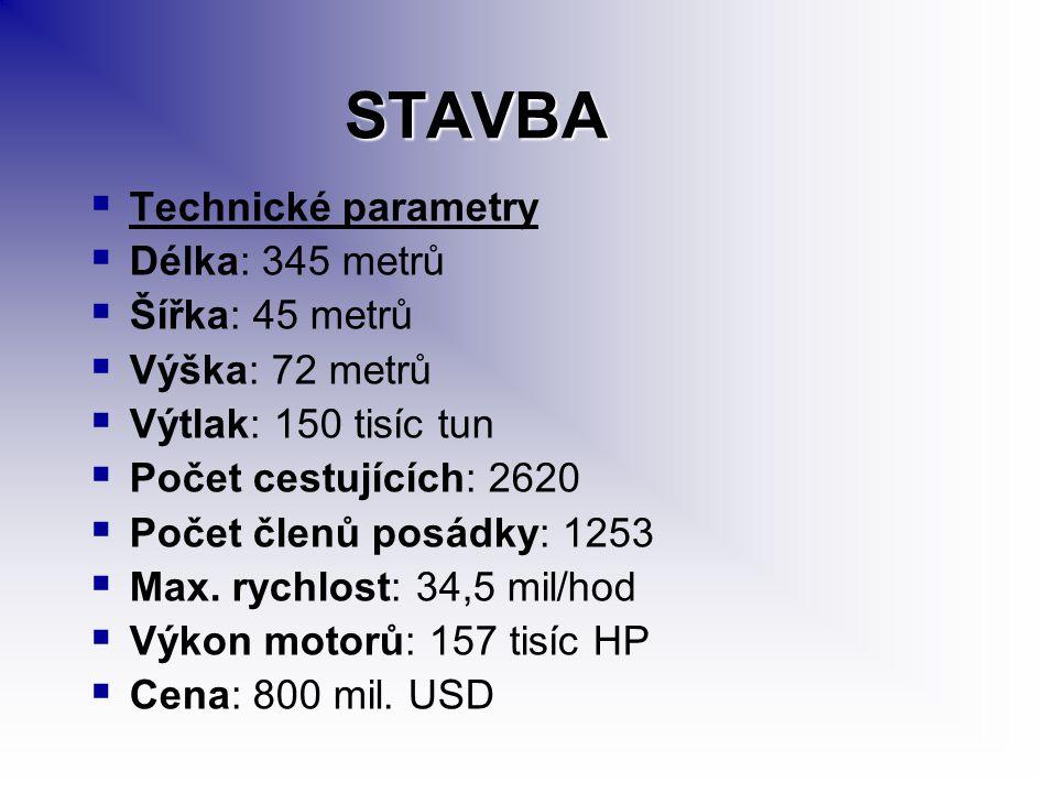 STAVBA   Technické parametry   Délka: 345 metrů   Šířka: 45 metrů   Výška: 72 metrů   Výtlak: 150 tisíc tun   Počet cestujících: 2620   Počet členů posádky: 1253   Max.