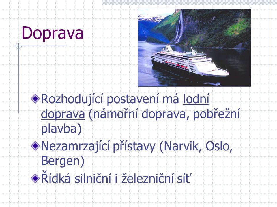 Doprava Rozhodující postavení má lodní doprava (námořní doprava, pobřežní plavba) Nezamrzající přístavy (Narvik, Oslo, Bergen) Řídká silniční i železn