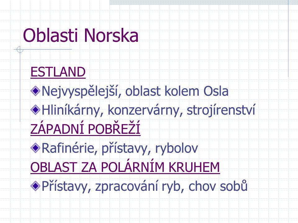 Oblasti Norska ESTLAND Nejvyspělejší, oblast kolem Osla Hliníkárny, konzervárny, strojírenství ZÁPADNÍ POBŘEŽÍ Rafinérie, přístavy, rybolov OBLAST ZA