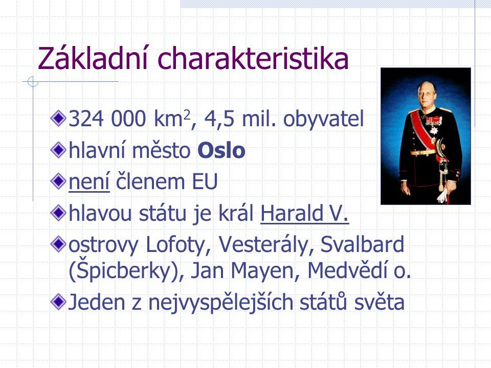 Základní charakteristika 324 000 km 2, 4,5 mil. obyvatel hlavní město Oslo není členem EU hlavou státu je král Harald V. ostrovy Lofoty, Vesterály, Sv