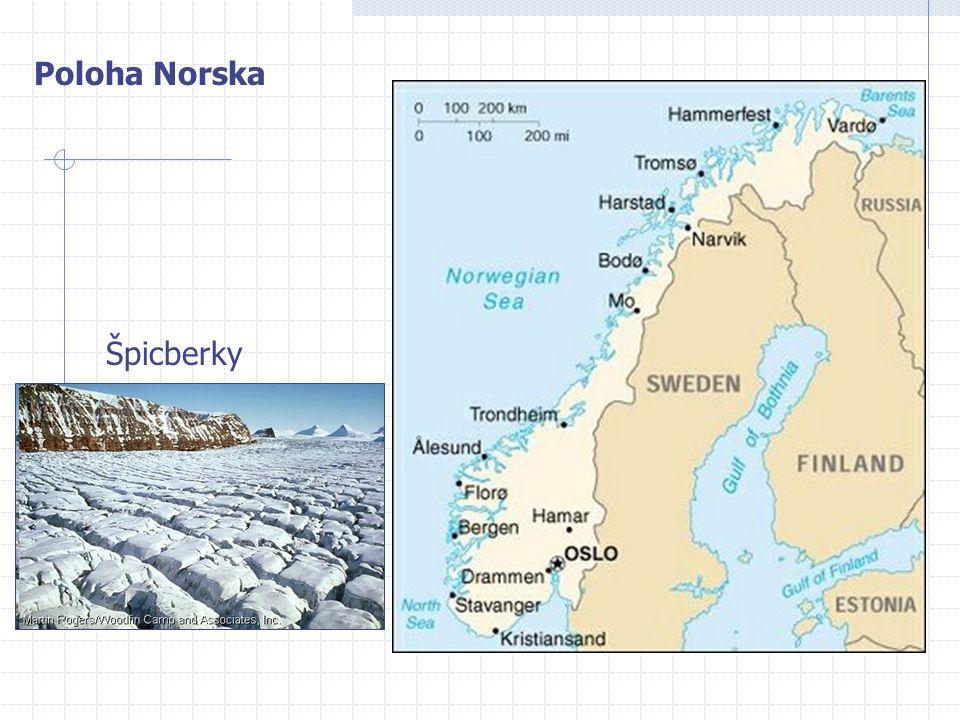Přírodní podmínky Hornatý povrch (Skandinávské pohoří) Horské ledovce (Jostedalský) Západní pobřeží fjordy (činnost ledovce) – Sognefjord (nejdelší, 220 km) Nížiny podél řeky Glommy a Oslofjordu Krátké vodnaté řeky (téměř 100% energie z hydroelektráren), množství ledovcových jezer Vliv Severoatlanského proudu (mírné oceánské klima, moře nezamrzá ani za polárním kruhem)