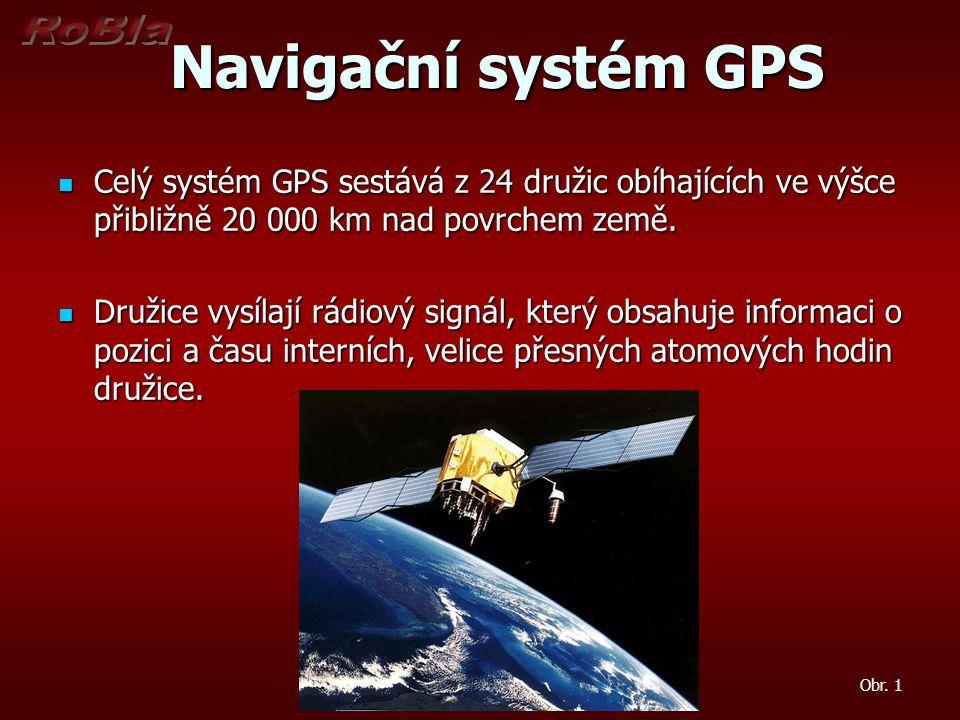 Princip GPS Princip GPS Systém GPS se dělí na tři části Systém GPS se dělí na tři části Kosmická – tvoří 24 družic Kosmická – tvoří 24 družic Řídící – monitoruje a koriguje činnost družic Řídící – monitoruje a koriguje činnost družic Uživatelská – tvoří ji přijímače GPS signálu Uživatelská – tvoří ji přijímače GPS signálu Každá družice vysílá následující informace: Každá družice vysílá následující informace: Přesný čas z atomových hodin Přesný čas z atomových hodin Svou polohu Svou polohu Přibližné polohy ostatních družic Přibližné polohy ostatních družic Pro výpočet polohy se využívá časový rozdíl mezi okamžikem vyslání signálu z družice a okamžikem jeho přijmutí.