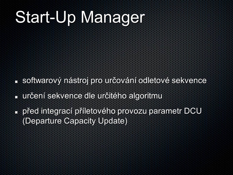 Start-Up Manager softwarový nástroj pro určování odletové sekvence určení sekvence dle určitého algoritmu před integrací příletového provozu parametr